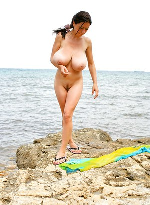 Huge boobs beach